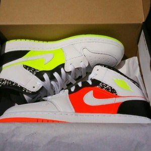 Air Jordan 1 Mid Composition Neon Sneakers